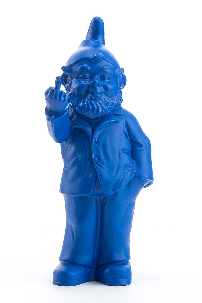 Sponti Zwerg blau von Ottmar Hörl mit Stinkefinger