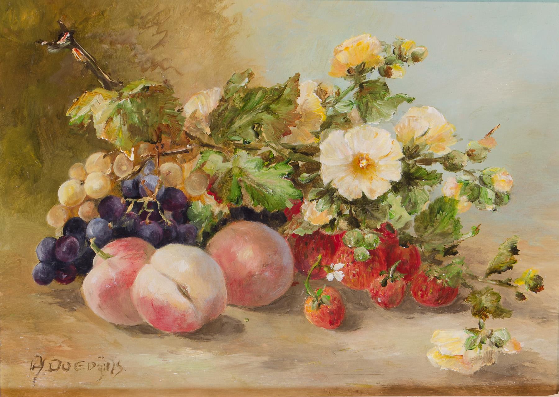 Pfirsiche und Blüten,18x13