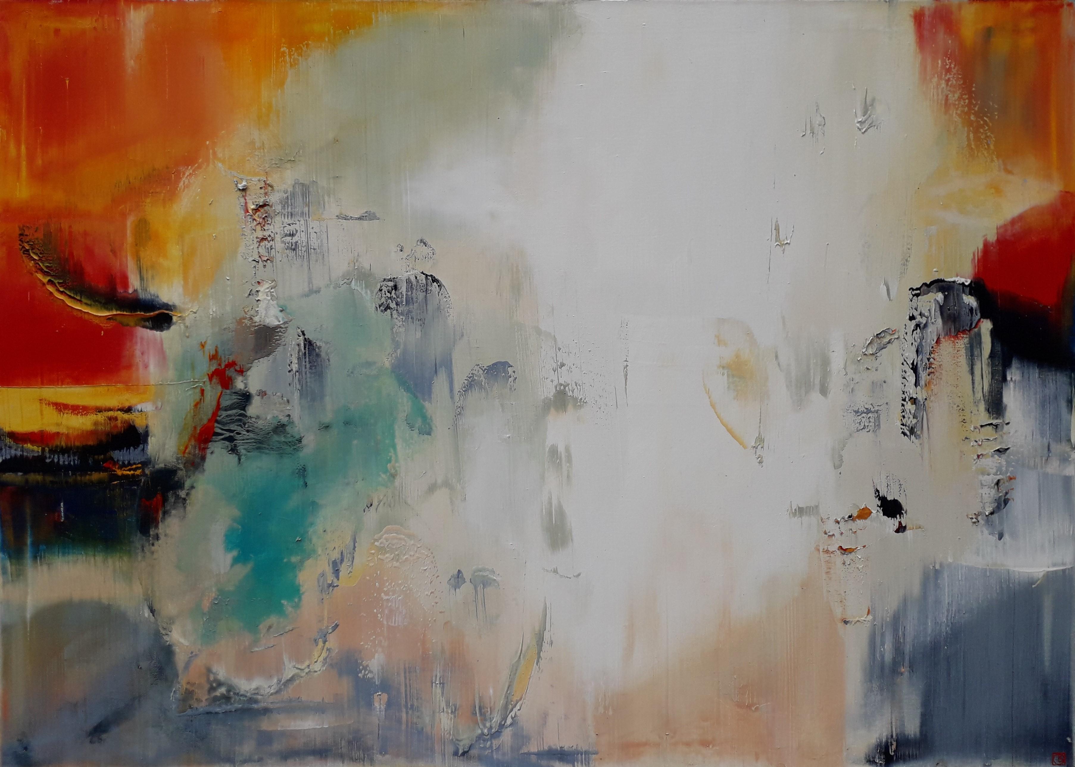 Abstraktion in Orange und Türkis